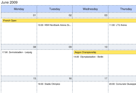 dhtmlxScheduler in PDF. Month View.