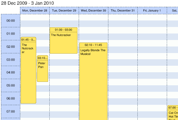 dhtmlxScheduler in PDF. Week View.