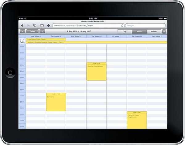 dhtmlxScheduler Demo for iPad