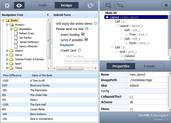 DHTMLX 3.0 - Visual Designer Tool