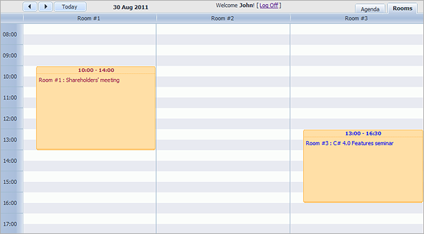 Room Booking Calendar with dhtmlxScheduler