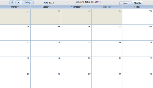 Event Calendar - Month View
