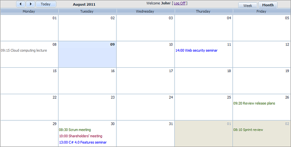 Room Booking Calendar - Colored Events
