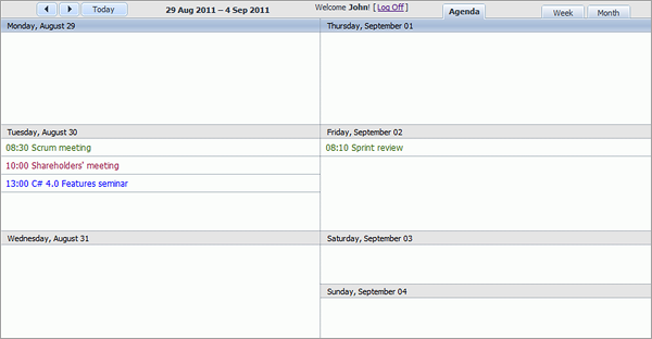 Room Booking Calendar - Week Agenda View