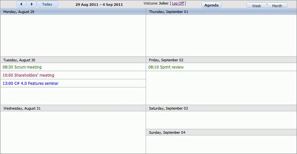 Room Booking Calendar - Week Agenda View