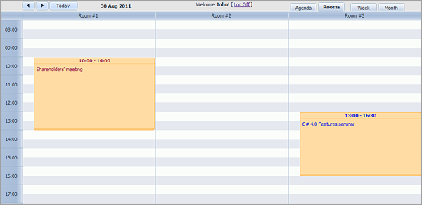 Room Booking Calendar - Unit View