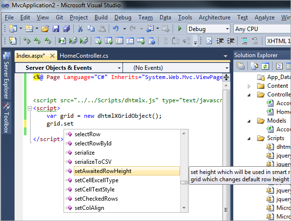 DHTMLX Autocomplete - Visual Studio 2010