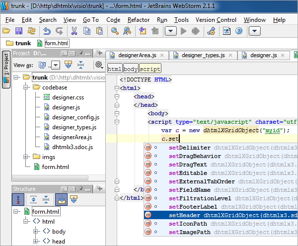 WebStorm 2.1 - Autocompletion for DHTMLX