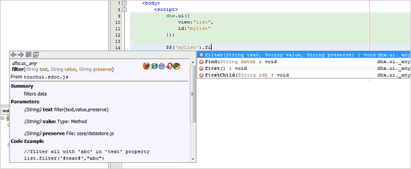 DHTMLX Touch 1.0 - Autocomplete in IDE