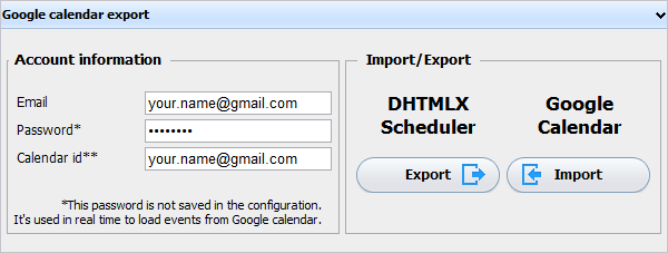 Event Calendar Plugin - Export to/from Google Calendar