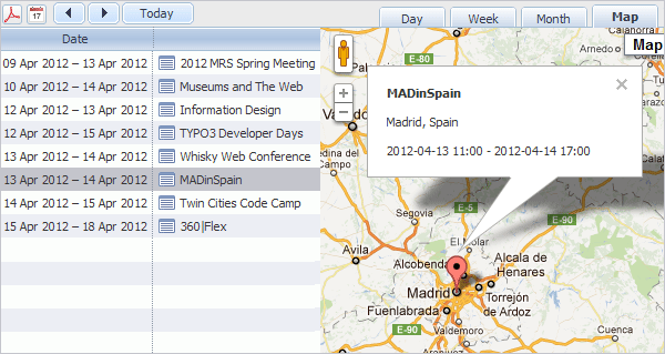 Event Calendar Plugin - Map View