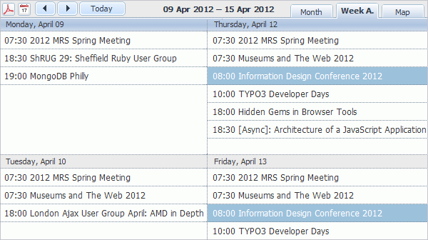 Event Calendar Plugin - Week Agenda