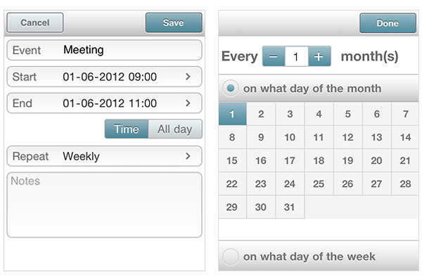 Mobile Scheduler - Recurring Events