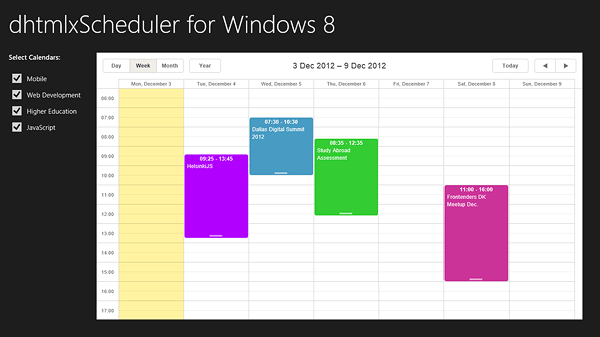 Scheduler for Windows 8 - Demo App