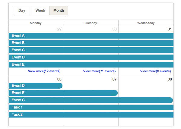 Monthly Calendar Using Javascript : Dhtmlxscheduler integration with jquery backbone js