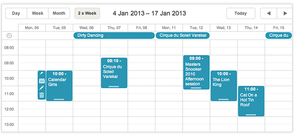 Weekly Calendar Ui : Dhtmlxscheduler integration with jquery backbone js