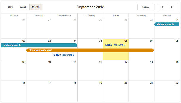 dhtmlxScheduler with Node.js - Event Calendar