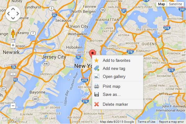 google map marker with menu