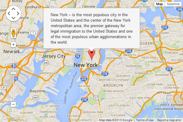google maps marker with popup