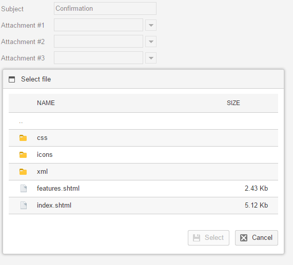 file selector with form
