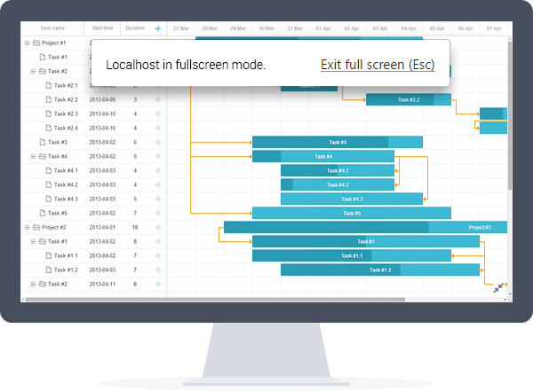 Gantt chart in Fullscreen mode