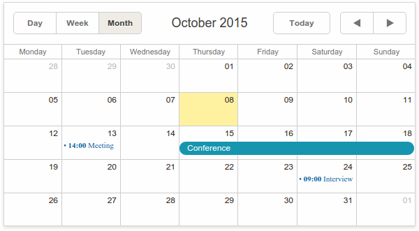 Basic view in Scheduler
