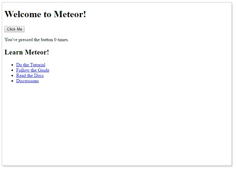 welcome to meteor app