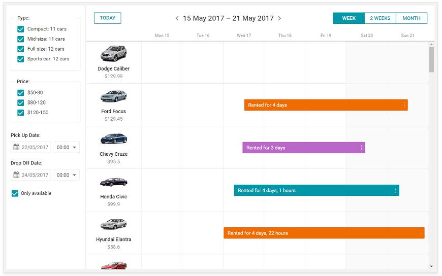 car rental javascript-php