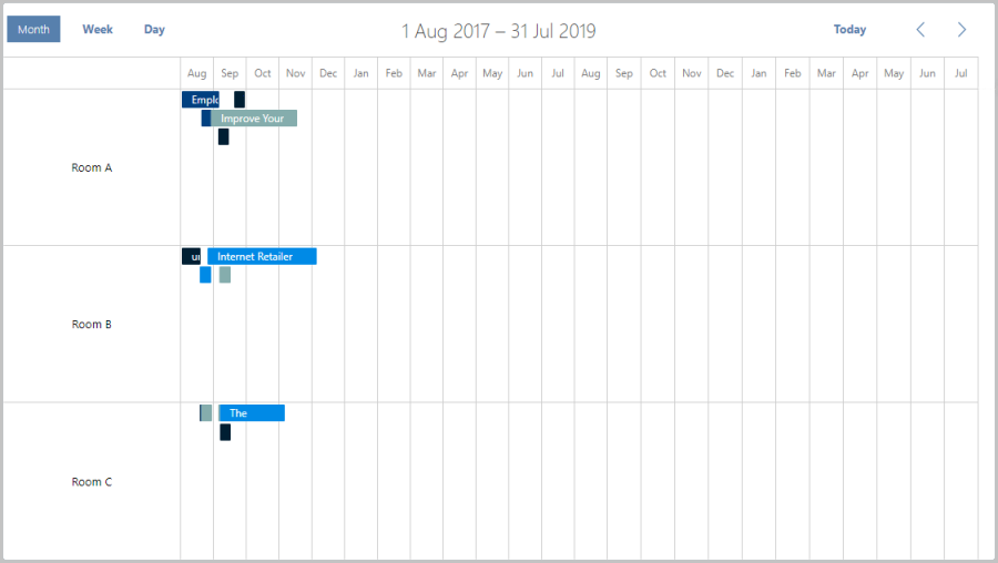 zoom timeline in scheduler