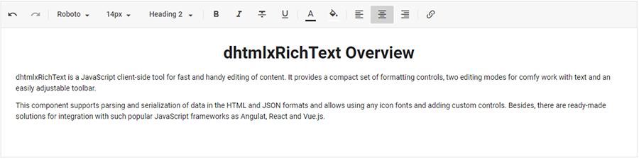 dhtmlxRichText 1 0: Launching a Brand New JavaScript Rich