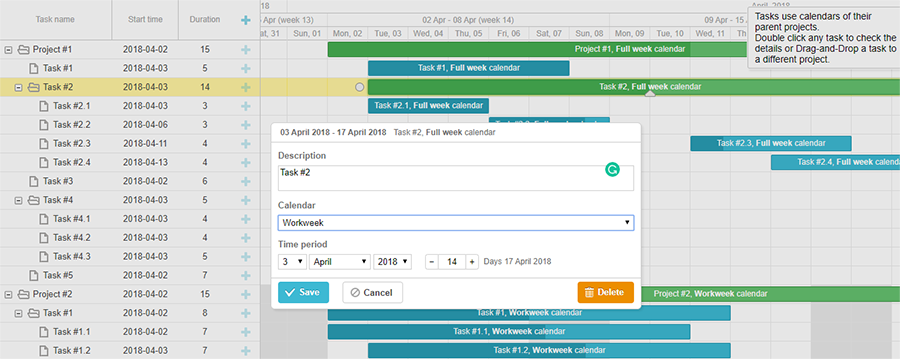 Project-Level Work Calendar