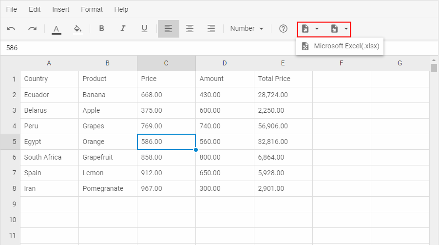 Export and import of Excel data into Spreadsheet