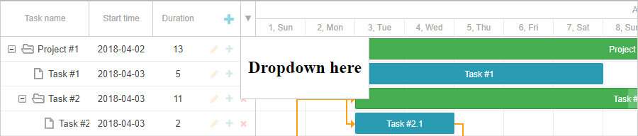 Dropdown menu in JavaScript Gantt