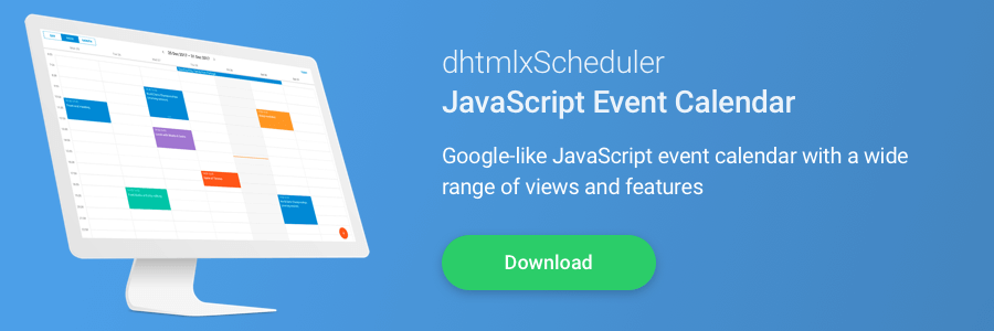 Download dhtmlx Scheduler - JavaScript event calendar