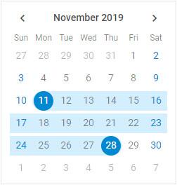 DHTMLX Calendar Range Mode
