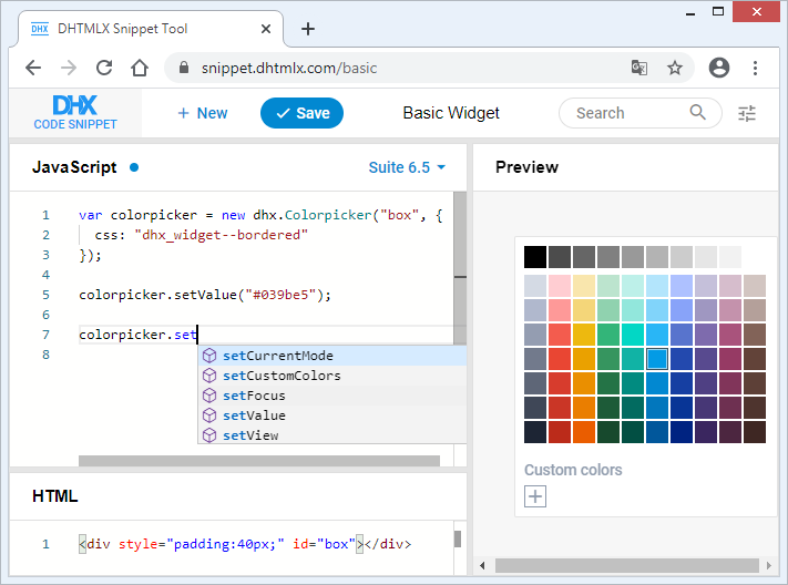 TypeScript support for UI components - DHTMLX Suite