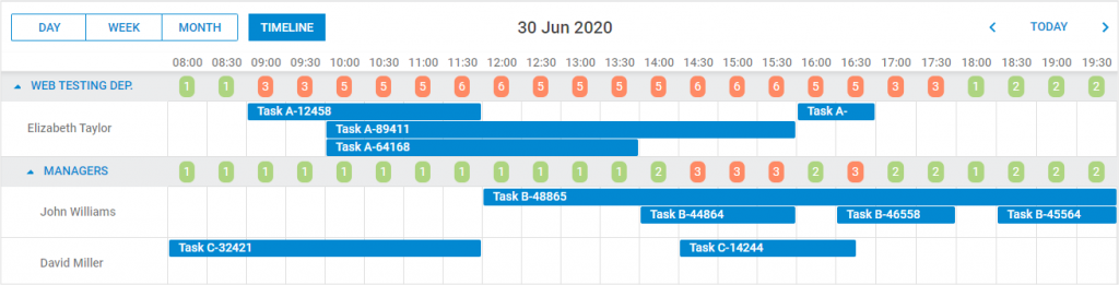DHTMLX Scheduler - Timeline View - Custom Content