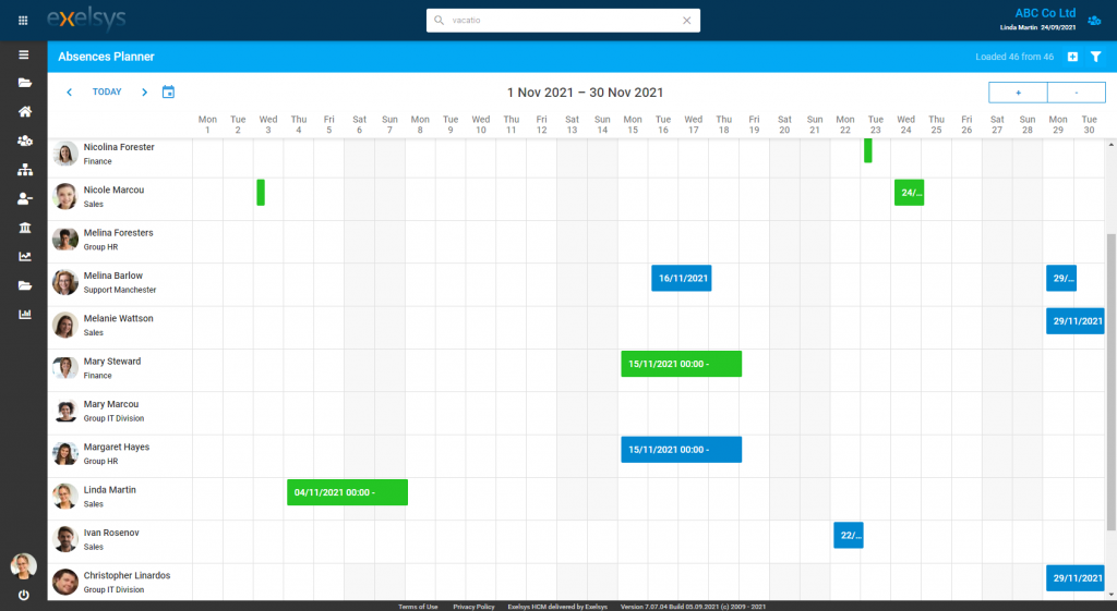 Exelsys - DHTMLX Scheduler - Timeline View