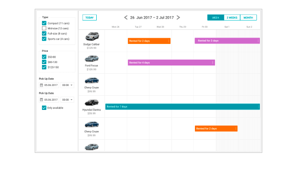 Car Rental Demo Application - JavaScript/HTML5 and PHP/MySQL