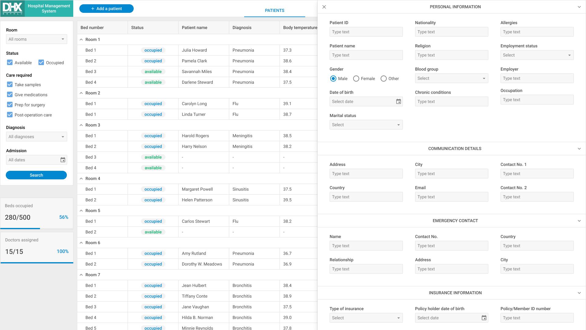 JavaScript Hospital Management System   DHTMLX library
